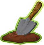 Picture of a garden trowel and a pile of dirt.