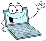 clipart computer with eyes and waving cartoon hands