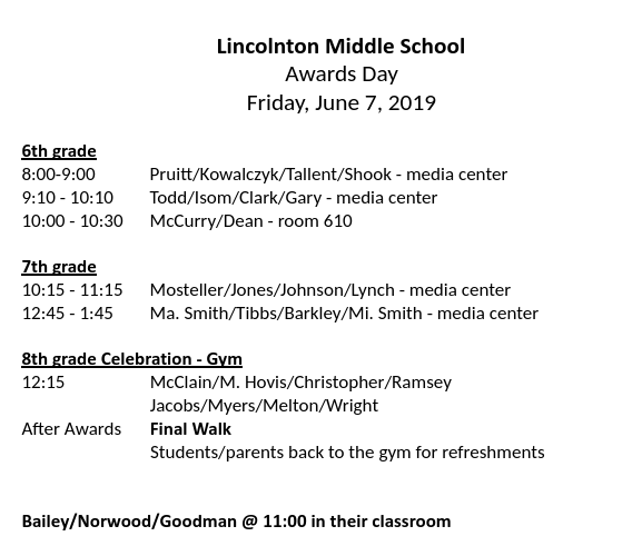Awards Day - Friday June 7th