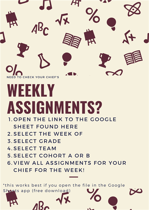 Check your student's weekly assignments here