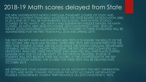 State Math test delay of results