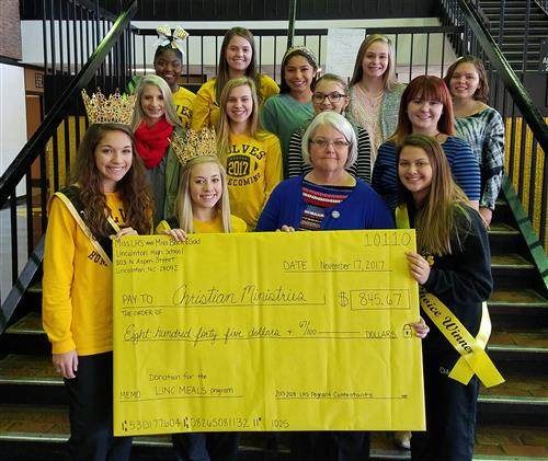 Participants From the 2018 Miss LHS and Miss Black & Gold Scholarship Pageant Present $845.67 Donation to Christian Ministries