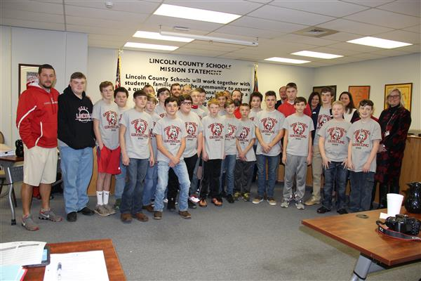 West Lincoln Middle School Wrestling Team Recognized at 1/9/18 Board of Education Meeting as Tri-County Conference Champions