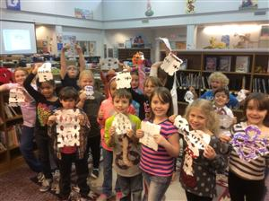 Ms. Hilburn's class with their snowflake creations