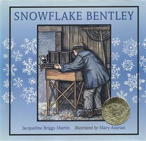 Cover of book Snowflake Bentley with man looking through a camera lens